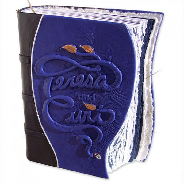 Blue Leather Wedding Album with Embossed Names