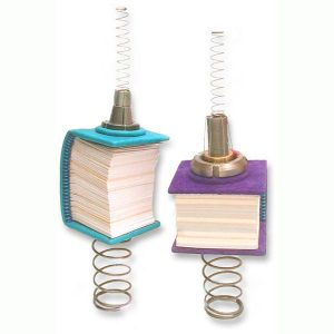 Sculptural Books mounted on steel springs, balanced as a sculpture, but functional
