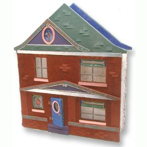 house shaped leather scrapbook with leaded glass windows, hinged blue door, purple dormer, green roof, and brown leather bricks