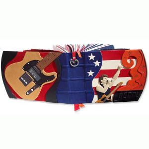 Bruce Springsteen Scrapbook with hand carved and leather embossing, Telecaster guitar on back cover, American flag