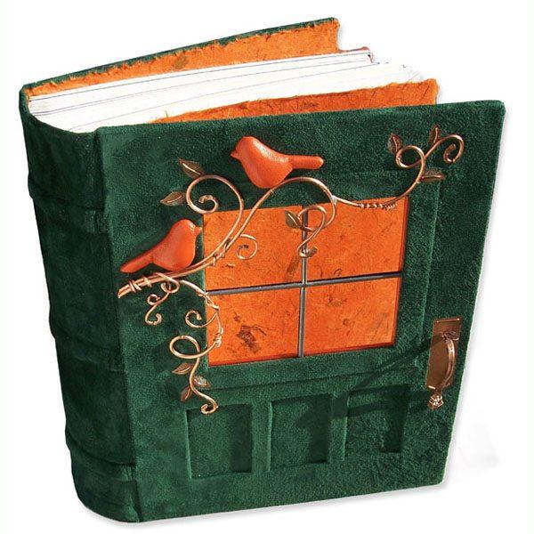 Custom Green Leather Door and Vine Wedding Book with glass window and orange birds