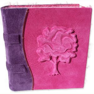 Leatherbound little girl's Pink Tree Journal with embossed tree and purple spine