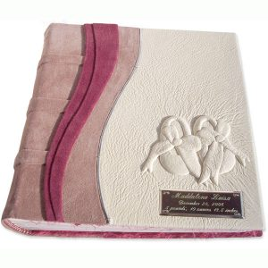 Carved Embossed Baby Shoes Pink Leather Baby Album with Etched Name Plate