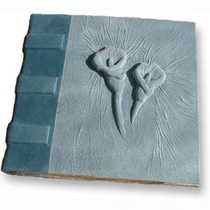 Calla Lily Address Book with blue suede leather over embossed flowers