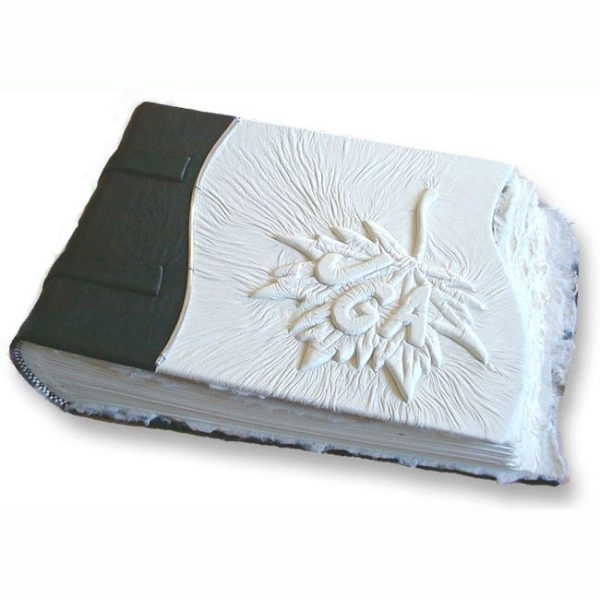 Maple Leaf Wedding Album with embossed initials under white leather