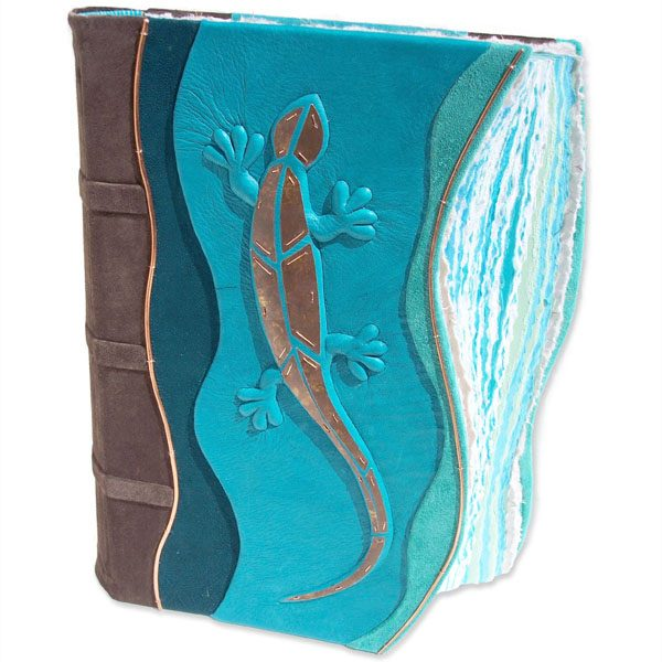 Copper Mosaic Lizard Scrapbook with turquoise leather