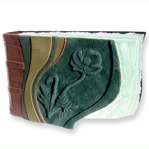 Poppy Scrapbook with green leather embossed flower