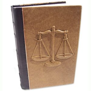 Carved Embossed Scales of Justice Custom Leather Kent Law Review book