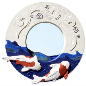 Carved Embossed Swimming Koi Fish Leather Mirror with Stained Glass, 20 inch round wall mirror