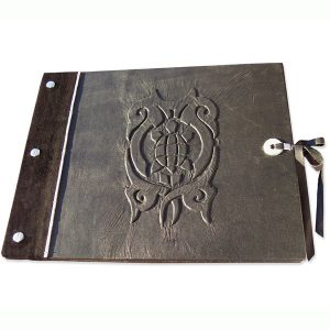 Turtle Sketchbook with embossed turtle tattoo design on screwpost book cover