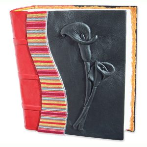 Custom red and black leather Calla Lily Wedding Album with carved and embossed flowers plus Guatemala fabric