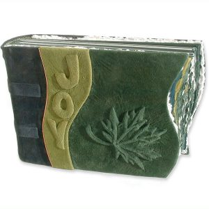 Personalized Maple Leaf Scrapbook with carved and green leather embossed name JOY