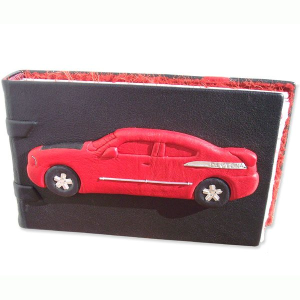 Red Leather Car Journal with Daytona Dodge Charger sculpture carved and embossed