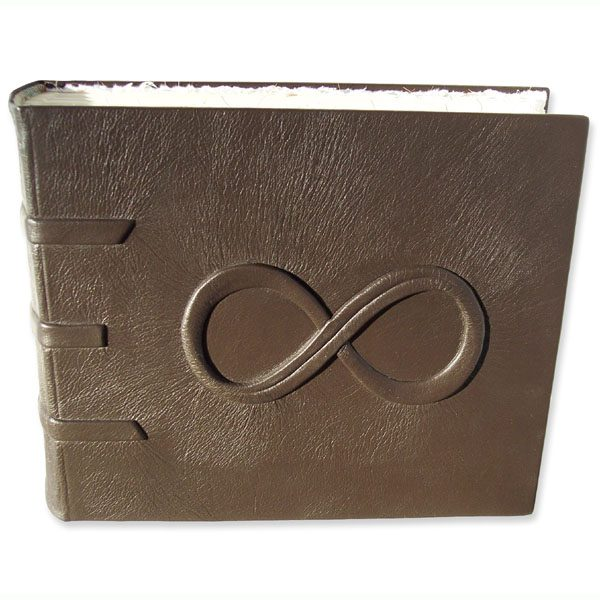 Leather Engagement Photo Album with carved embossed Infinity Symbol and Hidden Ring Compartment