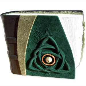 Celtic Trinity Knot Album with carved embossed holy trinity triqueta under green leather
