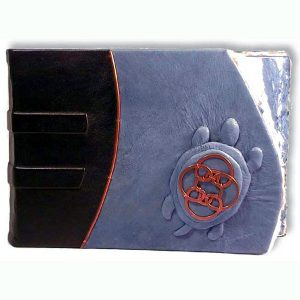 Celtic Turtle Leather Scrapbook Album with blue leather