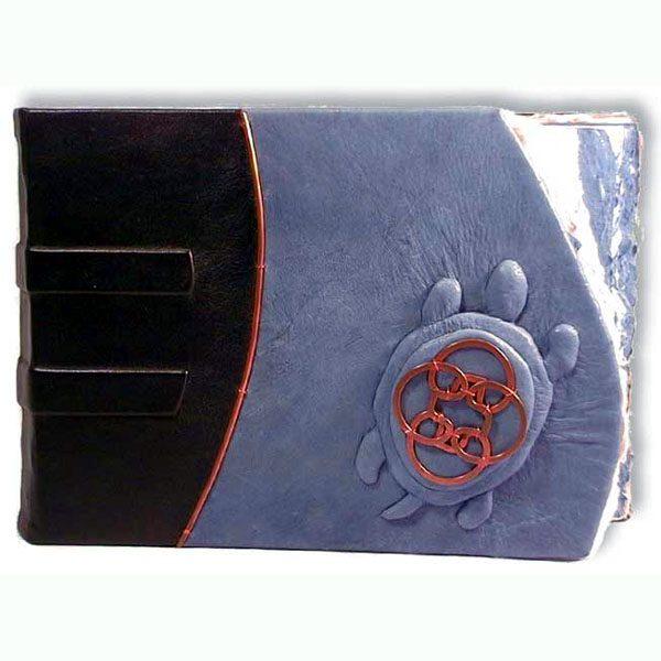 Celtic Turtle Leather Scrapbook Album with blue leather