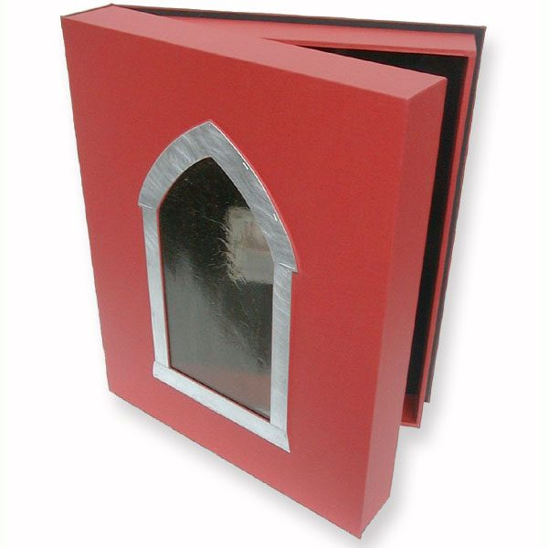 Red Clamshell Portfolio Box with Gothic Stained Glass Window