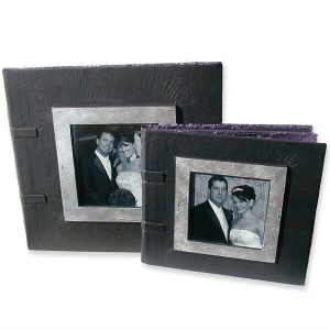Classical Leather Wedding Album with Framed Photograph under Glass