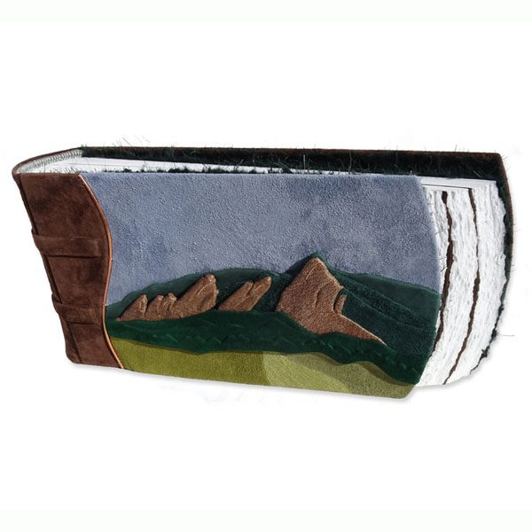 Colorado Flatirons Mountain Range on Leather Scrapbook Landscape Wedding Album