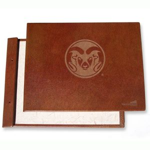 Colorado State University Ram's head Logo Laser Etched into brown leather Screwpost Portfolio Book