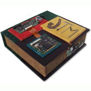 Circuits Electronics Leather Clamshell Portfolio Box with Initials