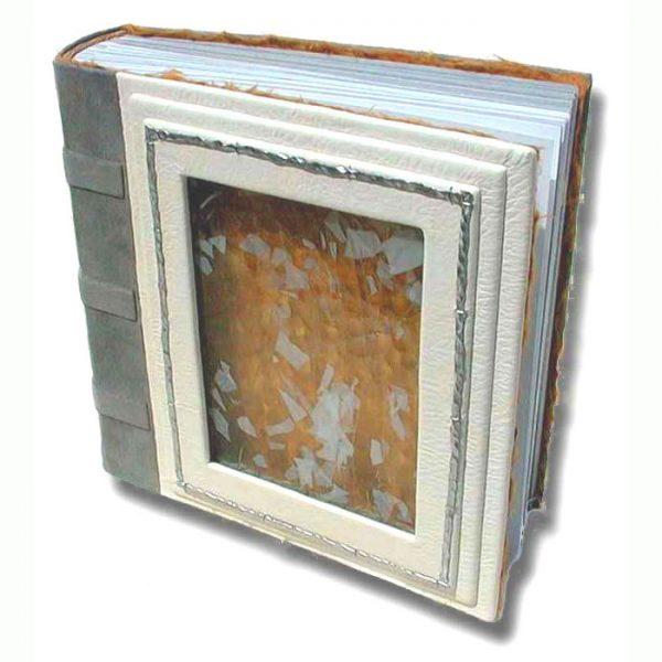 Confetti Glass Window in White Leather Wedding Album
