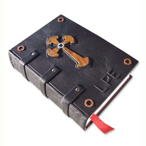 Copper Celtic Cross Leather Bible with Embossed Initials, straps around spine with rivets, copper washers