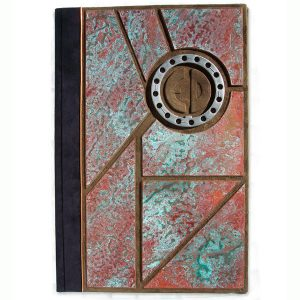 Copper Mosaic Custom Leather File Folder with Gear and Carved Embossed Intials