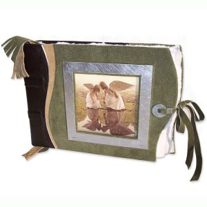 Angels Scrapbook Album with photo window and lace tie