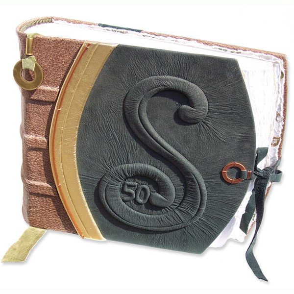 Custom Leather Anniversary Album with Carved Embossed Initial and Closure