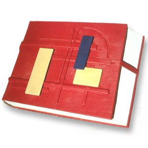 Custom Architectural Sketchbook with architects style in red leather on the cover