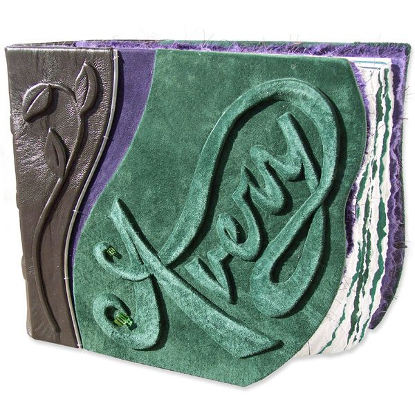 Embossed green suede Leather Baby Book with carved name Avery and leaves