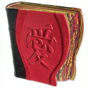 Custom Leather Japanese Kanji Love Photo Album with Carved and Embossed Characters