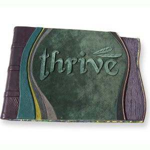 Custom Leather Portfolio Album with Carved and Embossed Thrive Business Logo