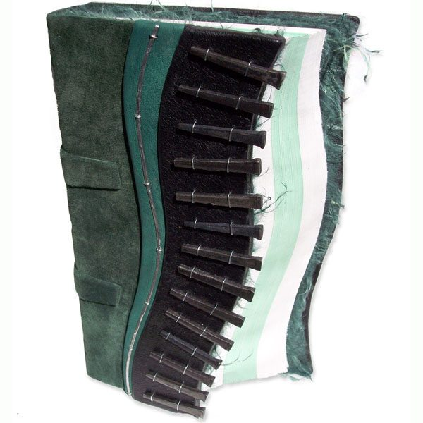 Handbound Green Leather Square Nail Journal with Curved Edge