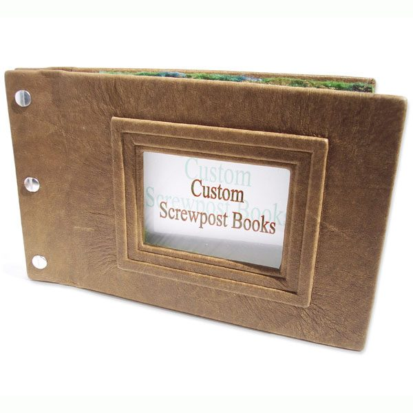Refillable Leather Screwpost Scrapbook Album with Framed Photo Window