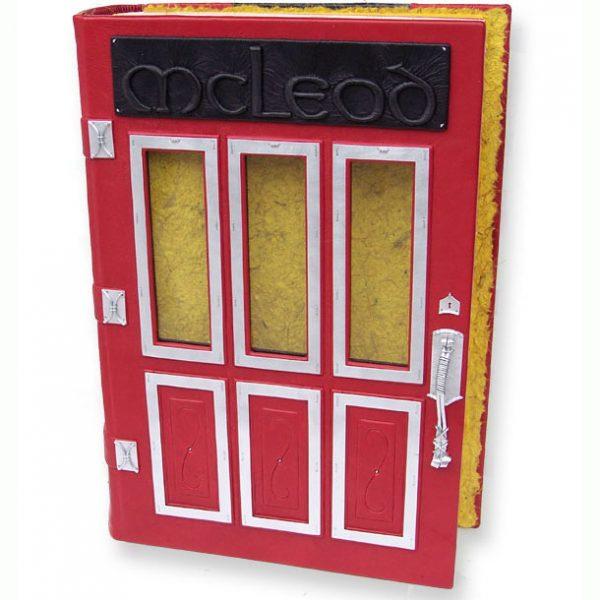 McLeod Custom Leather Family Door Photo Album with Glass Windows, red Scottish Door book