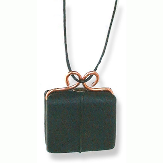Miniature Refillable Black Leather Necklace Book with Copper