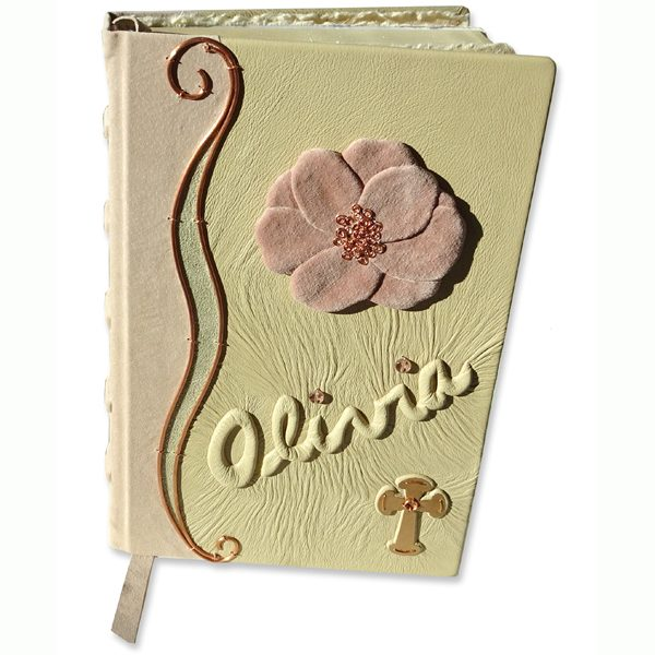 bible, bible cover, custom, leather, flower, camellia, pink, cross, celtic cross, copper, personalized, embossed, name
