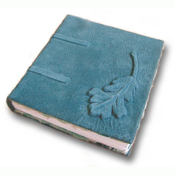 Suede Green Oak Leaf Guestbook with carved leaf