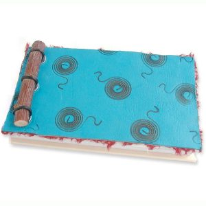Turquoise Leather and Twig Notebook with Branded Swirls