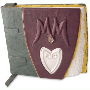 Custom Burgundy Leather Wedding Guest Book with Silver Heart and Embossed Initials