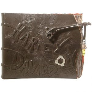 Custom Harley Davidson Leather Scrapbook Album with Chrome Clutch Brake Handle and Sparkplug