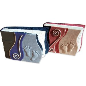 Baby Footprints Albums in pink and blue embossed leather