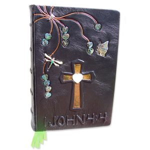Custom leather Heart Bible with Dragonfly and butterfly, embossed 1 John 4:4, mother of pearl, copper cross
