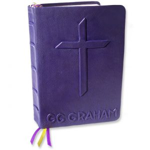 Custom Leather Bible with Embossed Name and Cross