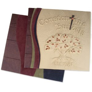Custom Leather Business Portfolio Carved Tree, Cross, Constantine Builders