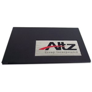 Metal Logo Business Portfolio with stainless steel waterjet cut emblem on black leather screwpost book