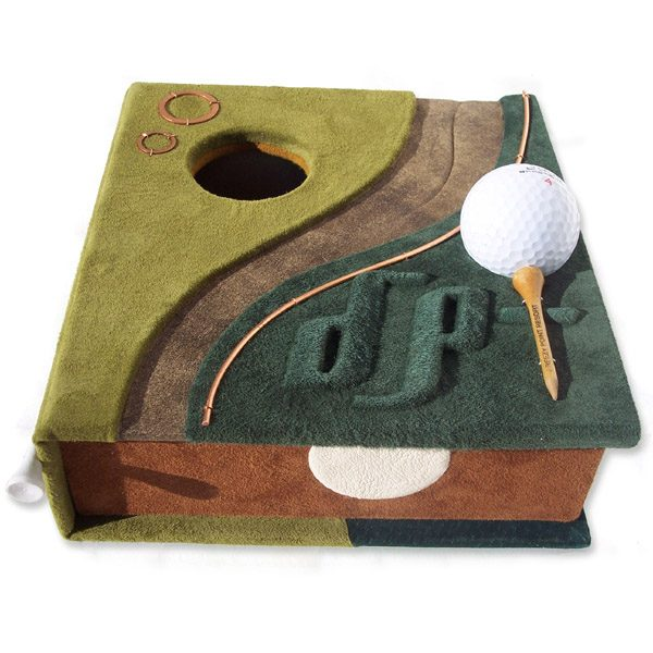 Personalized leather hole in one gold themed box with golf ball and tees